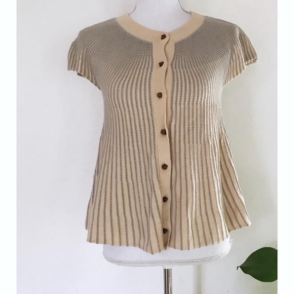 Moth Mild Pinstriped Dots Short Sleeves Cardigan